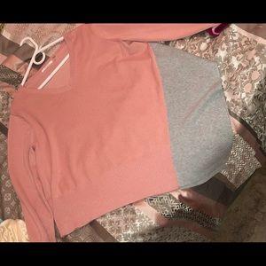 Light pink n grey sweater